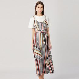ae3658caa89 Women Long Dress Casual Striped Print Short Sleeve Crew Neck T-Shirt Ladies  2 Sets Daily Dress Spring Brand New 2019 DHL Free