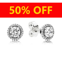 Vente en gros Bijoux De Mode De Luxe Designer Boucles D'oreilles Original boîte Pour Pandora 925 Argent Sterling Cristal Diamant Femmes Boucle D'oreille