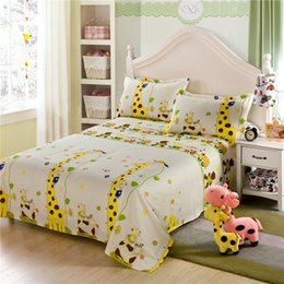 full size kids beds Australia - Yellow giraffe cartoon kids children Boys and girls 100% cotton bed sheets pillowcase bedding sets twin full queen king size