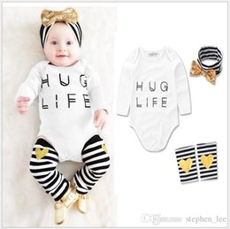 $enCountryForm.capitalKeyWord Australia - 2017 New Baby Girls Rompers Clothing Sets Infant Long Sleeve Romper+Striped Leg warmers+Headbands 3pcs Set Toddler Girl Suit Kids Outfits