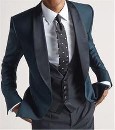 Images Fashionable Suits Australia - Fashionable Dark Green Groomsmen Shawl Lapel Groom Tuxedos Men Suits Wedding Prom Dinner Best Man Blazer(Jacket+Pants+Tie+Vest) A179