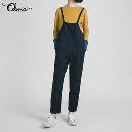 Harem Jumpsuits Women Australia - wholesale OL Style Women Striped Jumpsuits Casual Summer Sleeveless Rompers Loose Pockets Harem Pants Plus Size Office Lady Overall