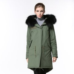 lined green army parka Australia - 2019 women snow coats for sale black raccoon fur trim army green down fill lining army green canvas long parkas