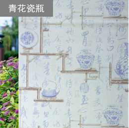 $enCountryForm.capitalKeyWord NZ - Blue and White Porcelain Chinese-style Glass Film Window, Flower Paper Teahouse Theatre Literature and Art Sticker Self-adhesive Glass Film