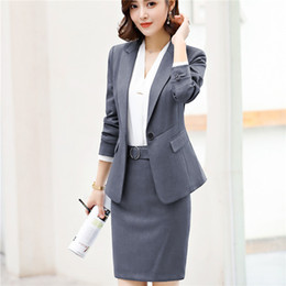 long army skirt Canada - Women skirt suit fashion Sashes elegant Patchwork Long Sleeve black Blazer skirt sets business office ladies work 2pcs set 6020