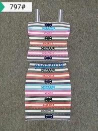 Ingrosso High-end donna slip top abito con strisce sexy maglia in tessuto multicolore camicia camicia slittamento reggiseno e abito tunica slim a tunica lunga corta