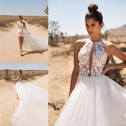 Discount milla nova wedding dresses 2020 New Milla Nova A Line Beach Wedding Dresses With Detachable Train Lace Applique Beaded Bridal Gowns Country Bohemia