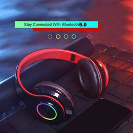 computer wireless headphone microphone Australia - Fashion Colorful Led Bluetooth Headphones Wireless Stereo Headsets Earbuds with Microphone for PC Computer Games Laptops