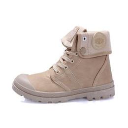 Novo Estilo Confortável de Paládio Sapatos Para Mulheres Homens PU de Couro Rendas até Flats Saltos À Prova D 'Água Preto Militar Ankle Martin Marca botas em Promoção