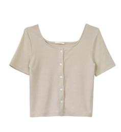 T Shirt Woman Korea UK - 2019 Korea spring and summer new simple single-breasted short-sleeved slim short square collar T-shirt female 004