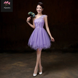 948165a2a Popodion summer violet bridesmaid dresses for wedding guests one shoulder  dress sister party plus size prom dresses