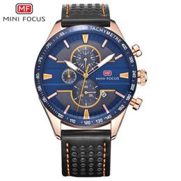 2019 MINIFOCUS Echtes Leder Herrenuhr Kalender Quarz Armbanduhren Multifunktions Chronograph Sport Wasserdichte Uhren im Angebot