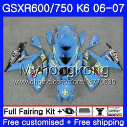 Gsxr rizla fairinG kits online shopping - Bodys For SUZUKI GSXR GSXR K6 GSXR750 HM GSX R600 R750 RIZLA cyan hot GSX R600 GSXR600 Fairing kit