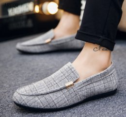 black plaid shoes 2019 - New Spring Men Loafers Summer Casual Driving Men's Shoes Fashion Comfortable Slip-On Lazy Footwear Flats cheap blac
