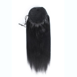 human hair ponytail UK - 100% Natural Brazilian Remy Human hair Ponytail Horsetail Clips in on Human Hair Extension Straight Hair 100g