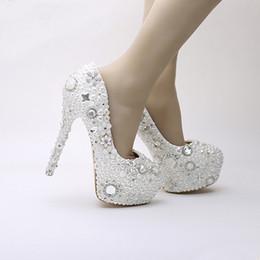 $enCountryForm.capitalKeyWord Australia - 2019 NewStyle Snow White High Heels Rhinestone Crystal Dress Shoes Pearl Wedding Shoes Platform Pageant Event Pumps Women Shoes