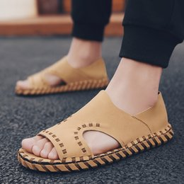 Casual Handmade Leather Shoes Australia - 2019 fashion microfiber leather handmade men's sandals shoes Men High quality casual outdoors sandalias Male tenis zapatillas