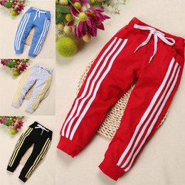 Bicycle For Boy NZ - 2019 Spring three bar brace stripe children sports pants boy girl pants 4 color Casual sport trousers For Birthday Gifts C33