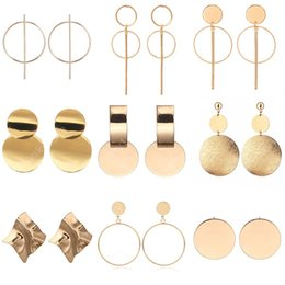 bohemian jewelry wholesale india Canada - New Vintage Drop Earrings For Women Gold Silver Color Big Geometric Statement Earring Fashion Earring India Jewelry