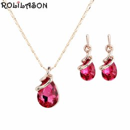 Discount wholesale pink gift sets - ROLILASON Pink Crystal Zircon Rose Gold Set Spring Carnival Pendant Necklace Earrings Romantic Valentine's Day Gift
