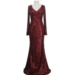 dresses apparel NZ - Sequined Fishtail Evening Dress V Neck Long Sleeve Sexy Style Female Clothing Fashion Style Casual Apparel Womens Party Designer