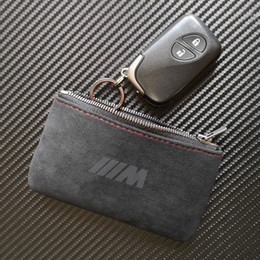 Bmw leather holder online shopping - M Logo Matte Leather Key Bag Wallet Key Case Cover Holder with Keychains for BMW