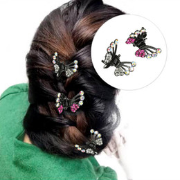 $enCountryForm.capitalKeyWord Australia - 6pcs set Wholesale Girls Rhinestone Butterfly Hair Claws Hair Clips Wedding Bridal Womens Diy Hair Accessories Headwear