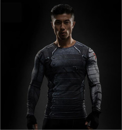 gold soldier NZ - 3D Winter Soldier Avengers 3 Compression Shirt Men Summer Long Fitness Crossfit T Shirts Male Clothing 3D Tights Tops