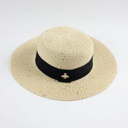 $enCountryForm.capitalKeyWord Australia - Hot Style Little Bee Straw Hats Ladies' comfortable Summer Hats Flat Top Sun Protection Hats Foldable Beach Caps