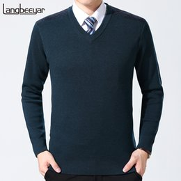 Discount top korean clothing brands - 2019 New Fashion Brand Sweaters Men Pullovers Wool Slim Fit Jumpers Knit V Neck Top Grade Autumn Korean Style Casual Men