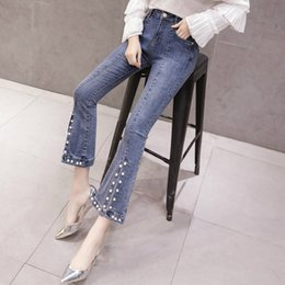 $enCountryForm.capitalKeyWord Australia - Spring Summer Womens Placket Pearls Stretch Flare Jeans Pants , Beading Slim High Waisted Ankle Length Denim Trousers For Women