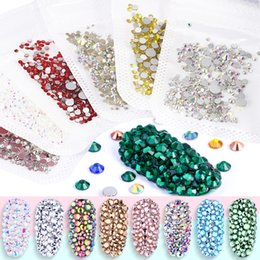 gem pack UK - 250pcs pack Mixed Size Crystal Nail Rhinestones 3D Jewelry Glass Rhinestones Gems DIY Nail Art Decoration