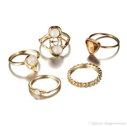 Vintage Cluster Rings Australia - Hollow Out Triangle Opal Stone Crystal Midi Ring Set Vintage Gold Color Knuckle Rings Fashion Boho Jewelry 5PCS Lot
