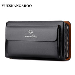 Long Male Wallet Zipper Australia - Kangaroo Brand Men Clutch Bag Fashion Leather Long Purse Double Zipper Business Wallet Black Brown Male Casual Handy Bag Y19052104