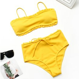 Wholesale new high waisted swimsuit online – Women High Waisted Bikini Set New Wave Bowknot Push Up Padded Swimsuit Beachwear Solid Color Pieces Swimwear Bathing