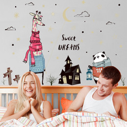 $enCountryForm.capitalKeyWord Australia - 20190621 Cartoon Panda and Deer Wall Stickers Background Decoration Removable Stickers for Children's Houses