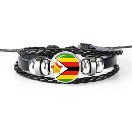 $enCountryForm.capitalKeyWord UK - Handmade Genuine Leather Rope Beaded Bracelet Silver Glass Cabochon Zimbabwe National Flag World Cup Football Fan Jewelry for Women Men Gift