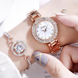 $enCountryForm.capitalKeyWord NZ - 2019 Hot Women Crystal Watches Luxury Jewelry Diamond Rose Gold Steel Belt Watch Fashion Quartz Bracelet Watch Set For Lady Gift