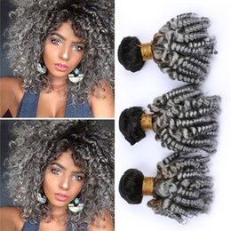 Discount gray curly weave - Dark Roots 1B Grey Ombre Brazilian Curly Hair Bundles Deals Aunty Funmi Curls Human Hair Black and Gray Ombre Virgin Hai