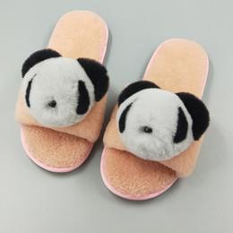 74b179827a4 Women Winter Autumn Home Slippers Indoor Sheep Fur Rabbit Fur Fluffy Panda Animal  Warm Shoes Slip on Flats Female Slides Casual