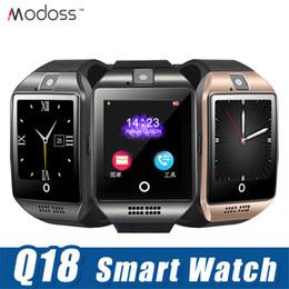 Bluetooth Smart Watch Sim Australia - Q18 Bluetooth Smart Watch for android phones with Camera Support TF sim Card Slot Bluetooth NFC Connection with Package