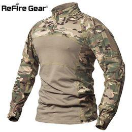 Army Camo Gear Australia - Refire Gear Tactical Combat Shirt Men Cotton Military Uniform Camouflage T Shirt Multicam Us Army Clothes Camo Long Sleeve Shirt J190614