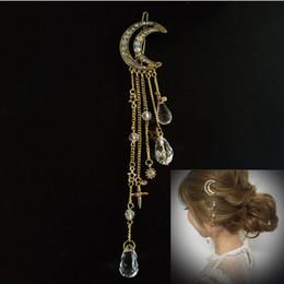 Crystal Heads Australia - Retro Crescent Moon Hair Clips Natural Crystal Stone Pendant Precious Women Headwear Tassel Head Clamp Hair Clips Freeshipping