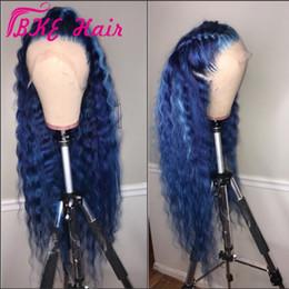 Parrucca sintetica anteriore in pizzo con parrucca sintetica stile celebrità 360 pizzo frontale parrucca blu lunga per le donne nere lacca naturale impunturata in Offerta