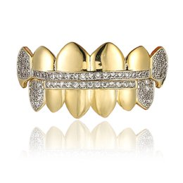 Hot Sale Gold 18k Australia - Hip Hop Braces 18k Gold Plated Micro Zircon Cusp Gold Braces Bing Bling Gold Zircon Braces Hot Sale