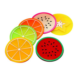 cute drink coasters UK - Kitchen Gadgets Silicone Cup Coaster Creative Fruit Style Heat Resistant Placemat Cute Fruit Drink Table Mat Kitchen Accessories