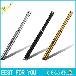 Plasma Arc Torch Australia - New Hot Long BBQ Plasma Arc Lighter Usb Electronic Cigarette Lighter Flameless Windproof Metal Torch Candle Lighter for Outdoor Camping