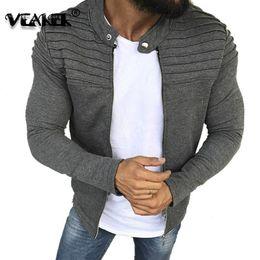 Fold Jacket NZ - Spring streetwear Autumn New Pattern Solid Color Stripe Fold Zipper Cardigan Jacket Men Coat Button No Stand Collar Slim Jackets