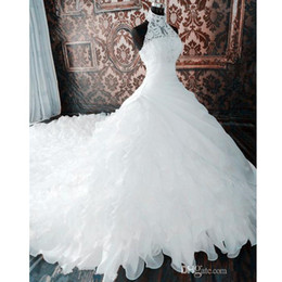 Wholesale sleeveless collared shirt plus size for sale – plus size 2020 White Gorgeous Bridal Gowns Lace Halter Wedding Dresses Tiered Skirts Long Train Plus Size Ball Gown Wedding Dress vestidos de novia