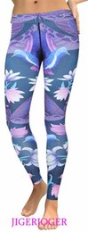 birds leggings NZ - JIGERJOGER Women's Yoga Pants Purple Dragonfly birds printed LEGGINGS Activewear for women high waisted summer outfits fitness #147319